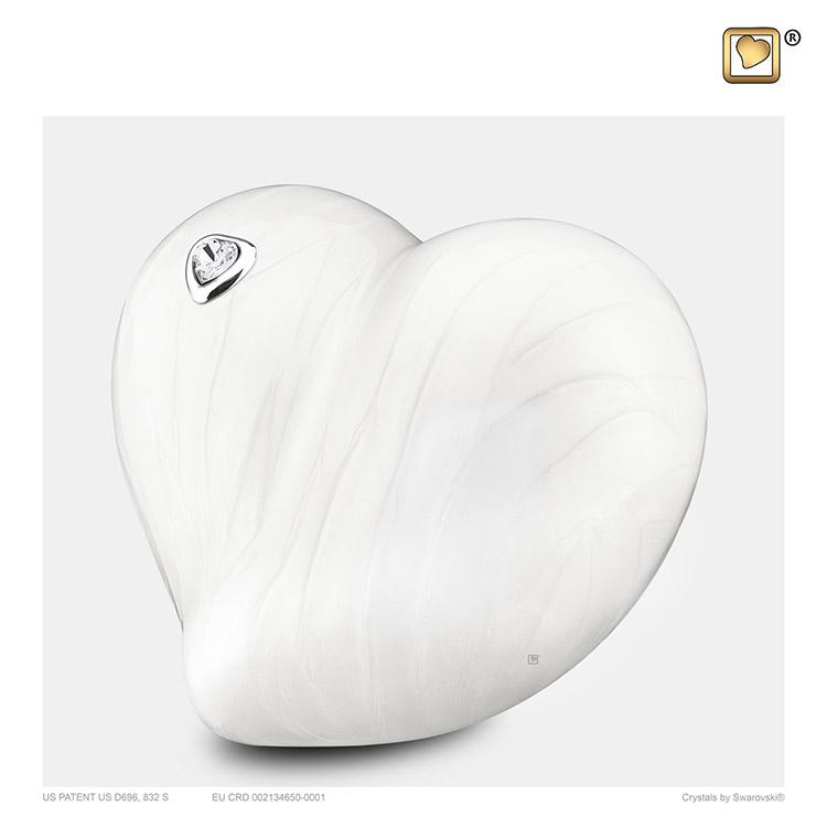 Kleine LoveHeart Urn Wit Gemarmerd Swarovski (0.65 liter)