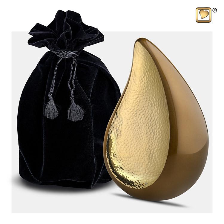 Kleine Teardrop Urn Golden Brown - Gehamerd Goud (0.4 liter)