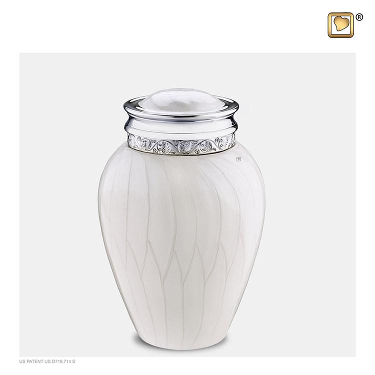 Kleine Blessing Urn Witmarmer, Zilver Sierrand (0.8 liter)
