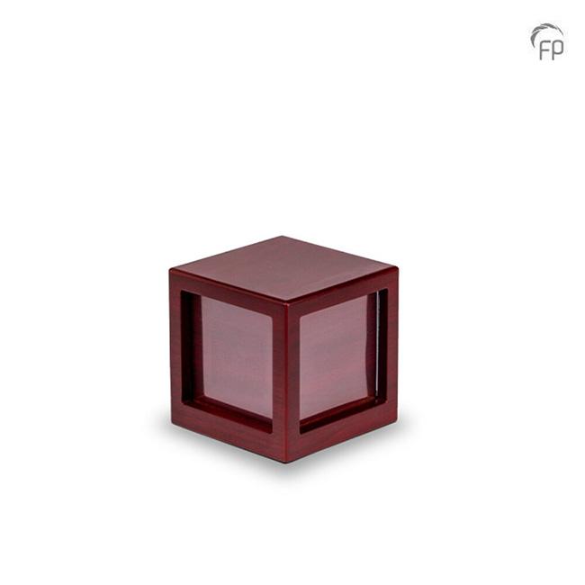 Kleine Houten Photocube Urn Kersenhout (0.7 liter)