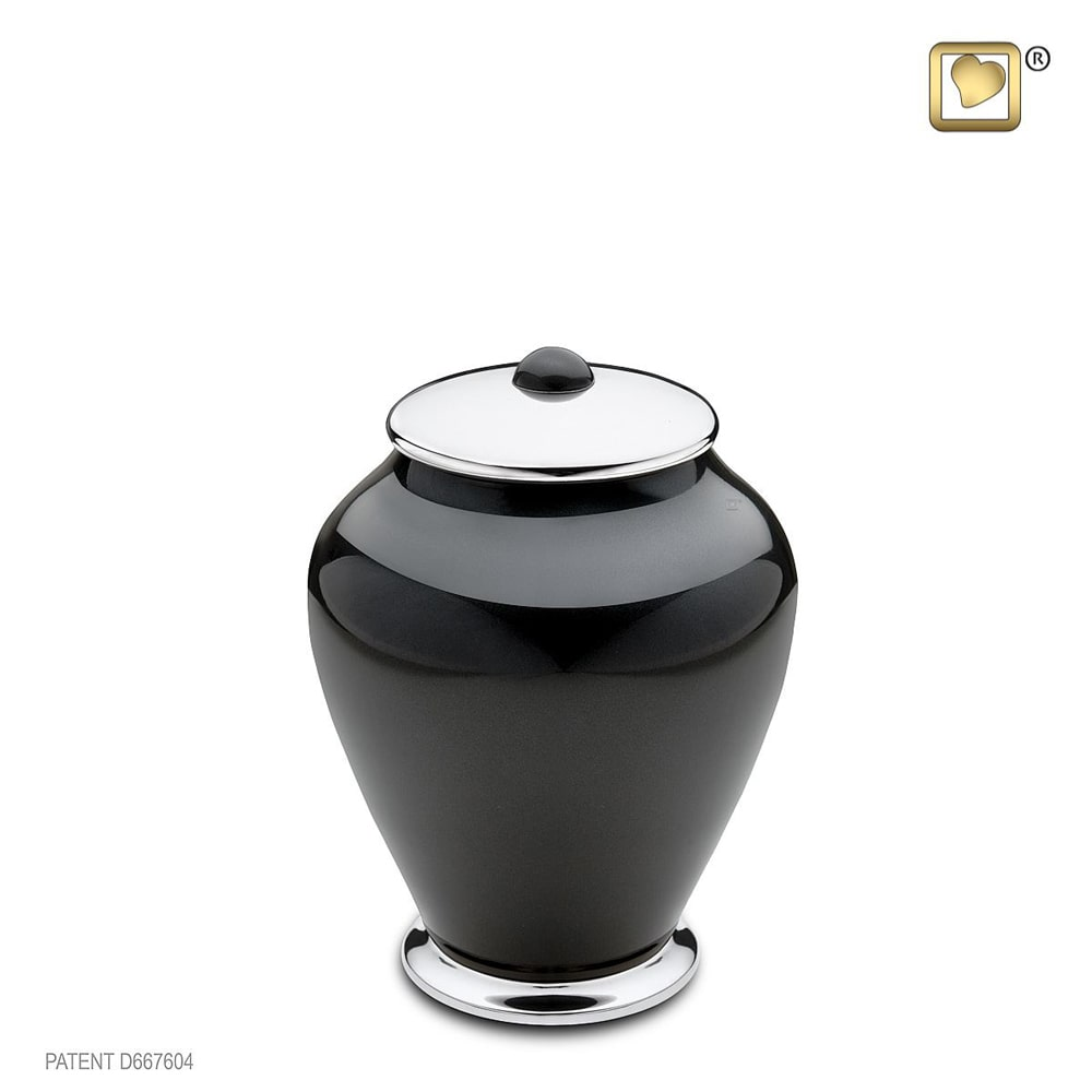 Kleine LoveUrns Simplicity Urn Zwart-Zilver (0.8 liter)