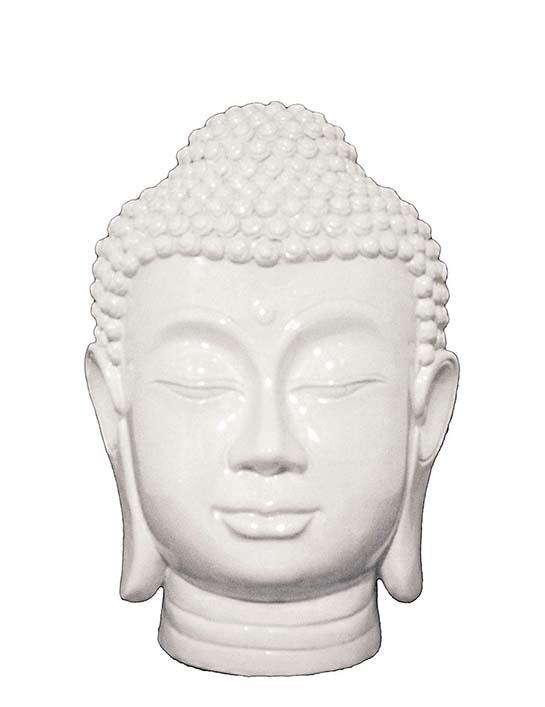 Witte Boeddha Hoofd Urn Birma (1.3 liter)