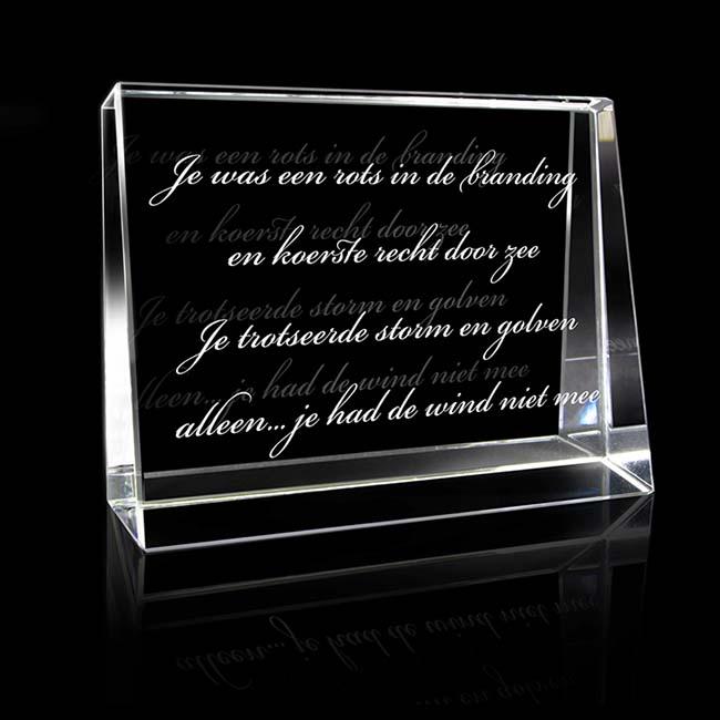 Kristalglas Liggende Rechthoek met Lasergravure (8 cm.)