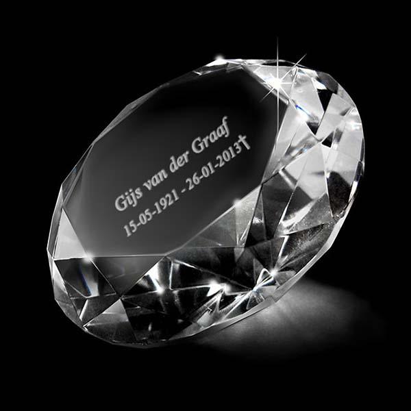 Kristalglas XL Diamant Lasergravure (20 cm.)
