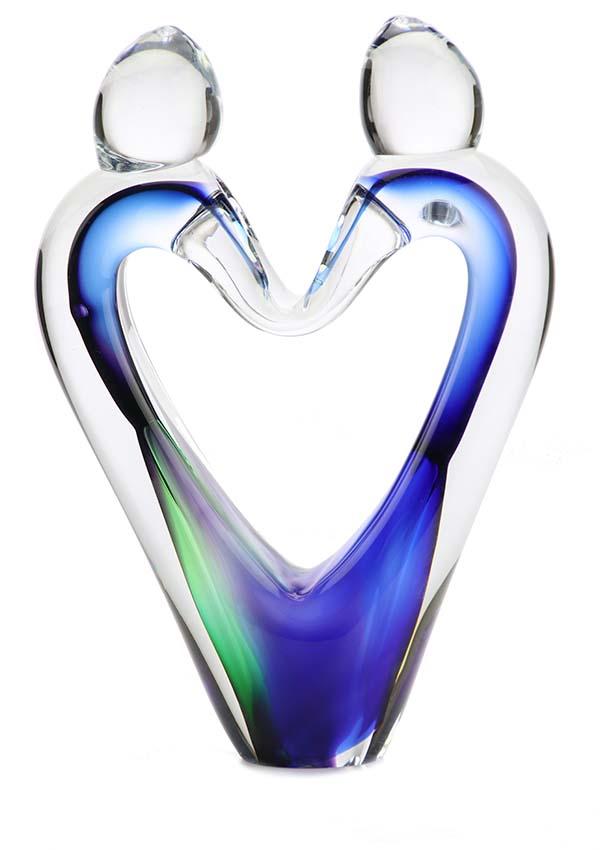 Kristalglazen 3D Love-Hart Urn Blauwgroen (0.16 liter)