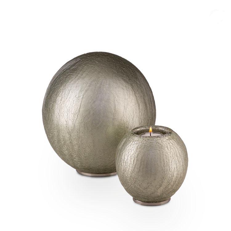 Urn met Waxinelichtje Zilver Craquele (0.7 liter)