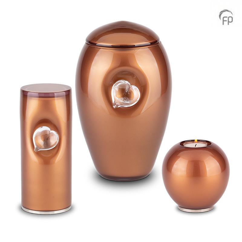 Kleine Kristalglazen Cilinder Urn Bruin (0.5 liter)