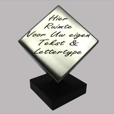 RVS Kubus Dierenurn met Pootafdruk en Sokkel (0.5 liter)