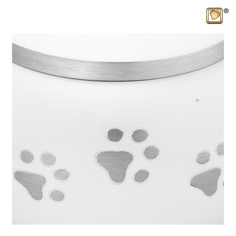 Mediumgrote Dierenurn Zilveren Pootafdrukjes Wit (0.75 liter)