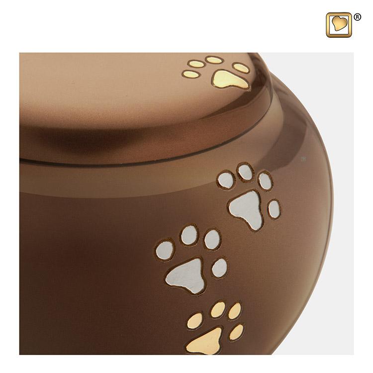 Kleine Dierenurn Goudbruin Pootafdrukken (0.5 liter)