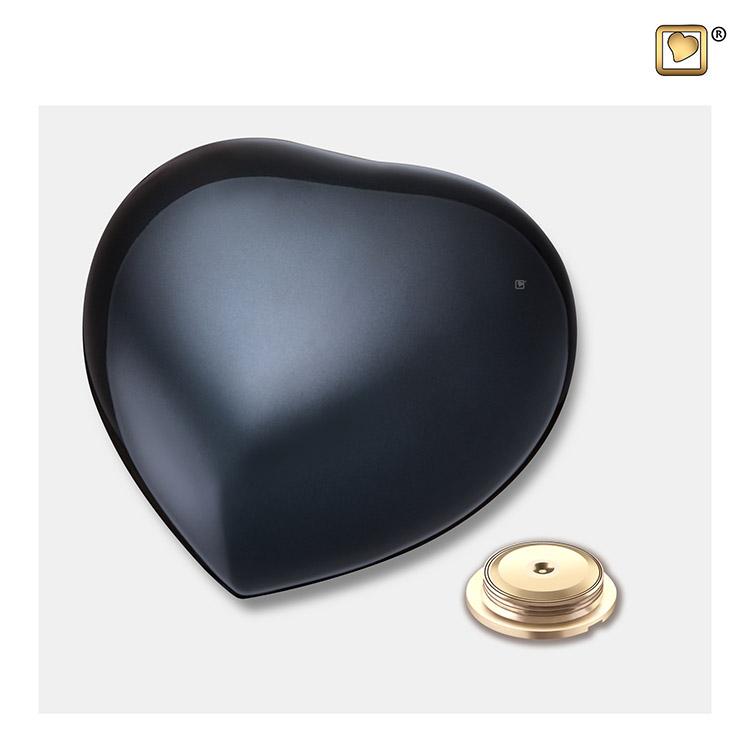 Medium LoveUrns Hart Urn Shiny Black (0.4 liter)
