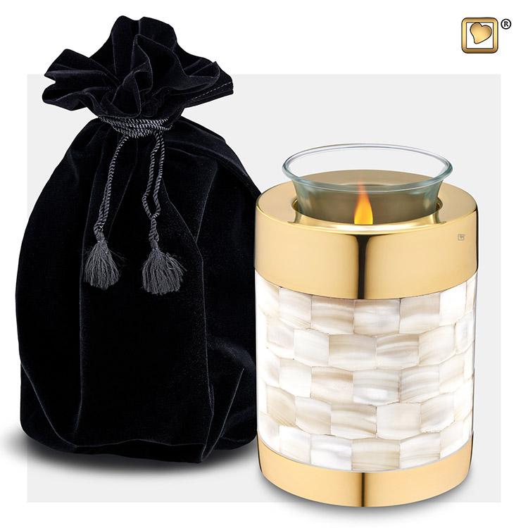 Dierenurn met Waxinelichtje Shiny Gold - Parelmoer (0.45 liter)