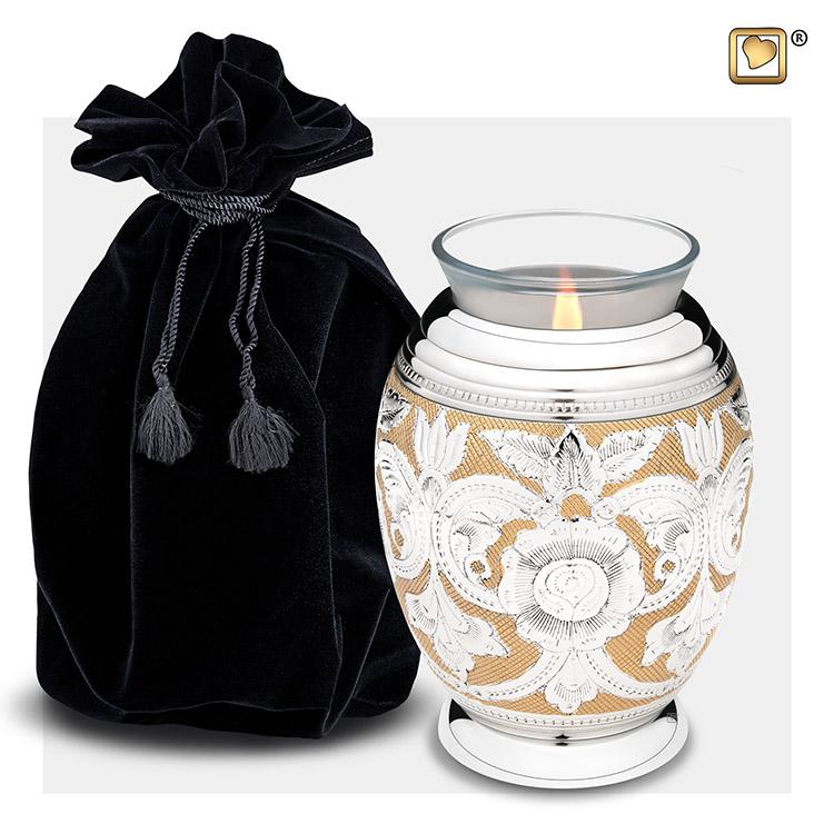 Urn met Waxinelichtje Shiny Silber - Messing Bloemen (0.49 liter)