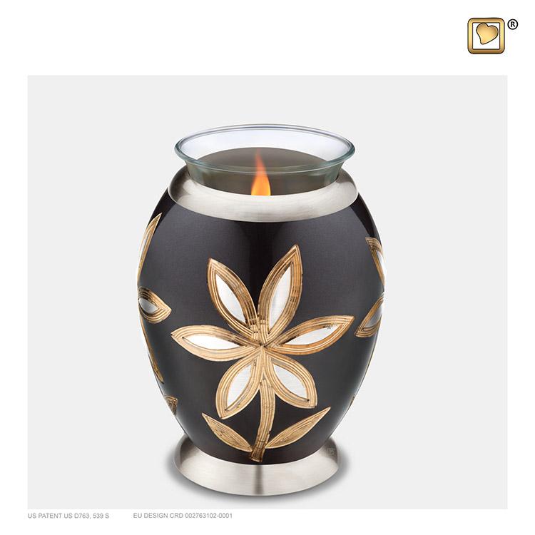 Urn met Waxinelichtje Messing Bloemen (0.49 liter)