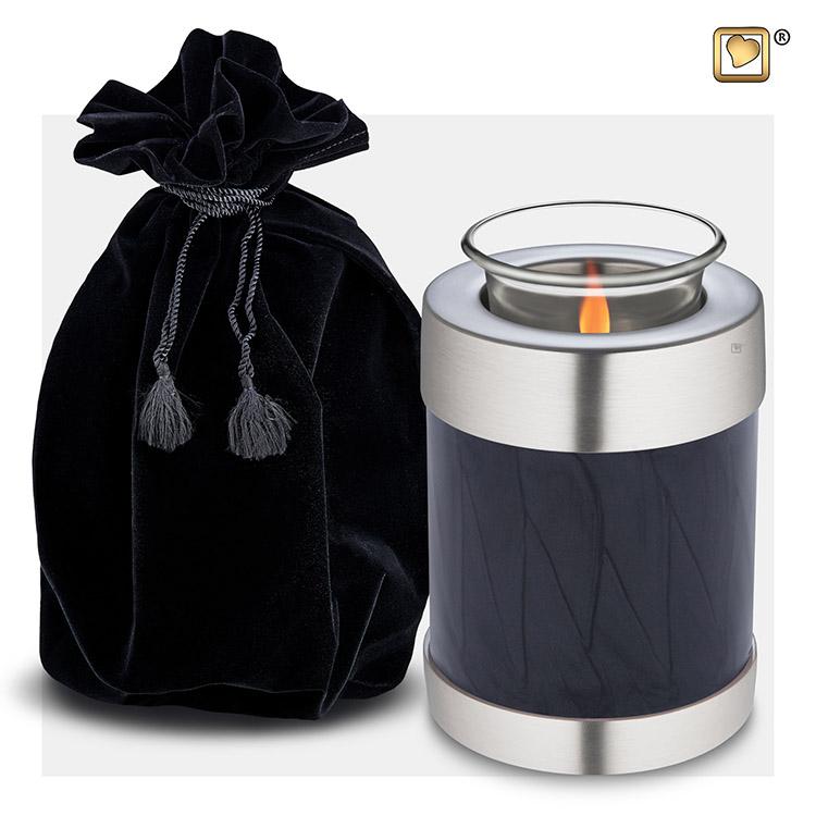 Urn met Waxinelichtje Gemarmerd Zwart - Matzilver (0.45 liter)