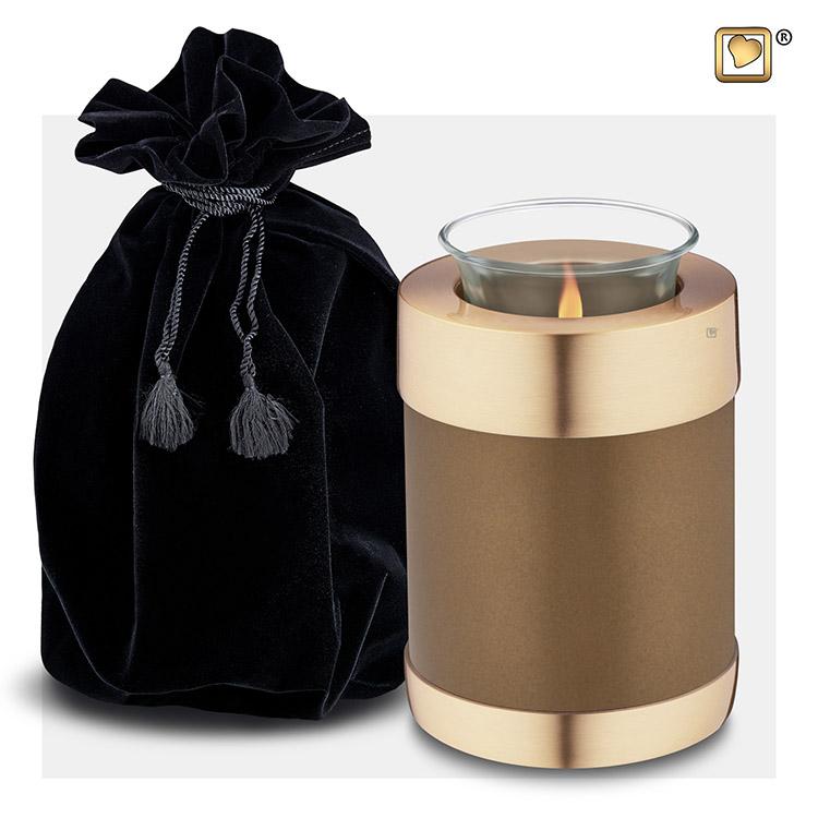 Dierenurn met Waxinelichtje Goudbruin Metallic (0.45 liter)