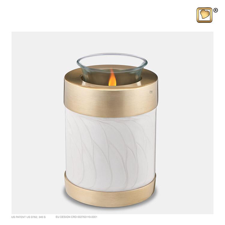 Urn met Waxinelichtje Gemarmerd Wit, Gouden Randen (0.45 liter)