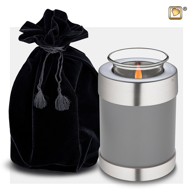 Urn met Waxinelichtje Leikleurig - Matzilver (0.45 liter)