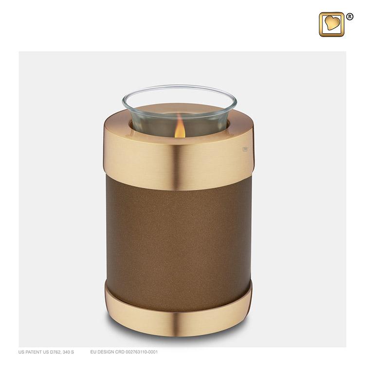 Dierenurn met Waxinelichtje Kastanjebruin - Matgoud (0.45 liter)