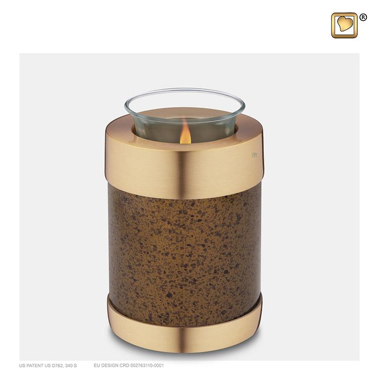 Dierenurn met Waxinelichtje Gespikkeld Kastanje - Matgoud (0.45 liter)