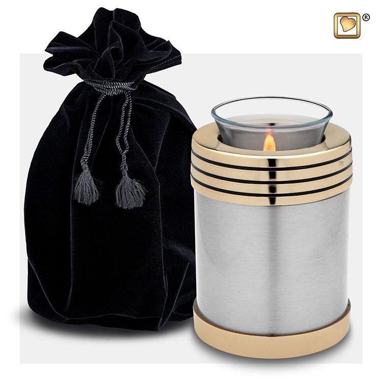 Tinkleurige Waxinelicht Dierenurn, Gouden Sierrand (0.45 liter)