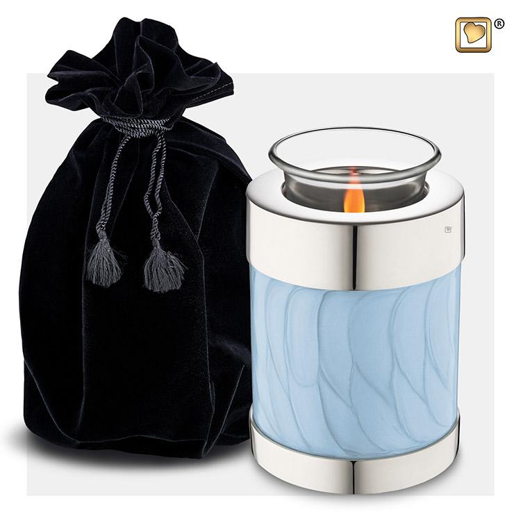 Urn met Waxinelichtje Gemarmerd Blauw (0.45 liter)