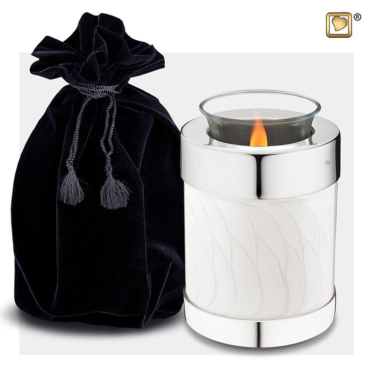 Urn met Waxinelichtje Gemarmerd Wit, Zilver Randen (0.45 liter)