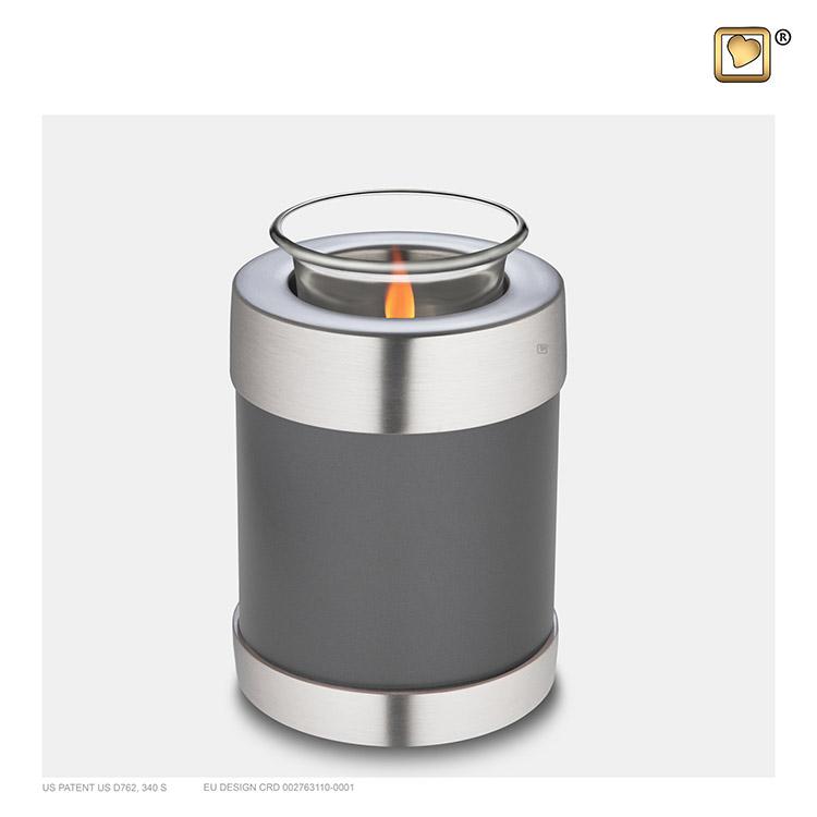 Dierenurn met Waxinelichtje Grijs Metallic (0.45 liter)