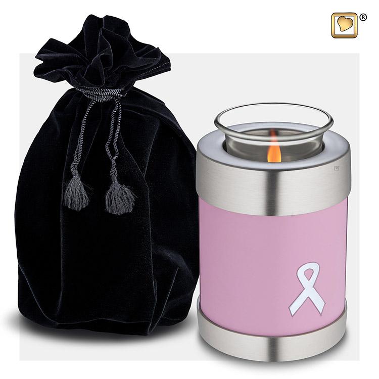 Urn met Waxinelichtje Pink Ribbon (0.45 liter)
