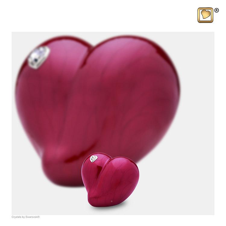 Mini LoveHeart Urn Rood Gemarmerd met Swarovski (0.1 liter)
