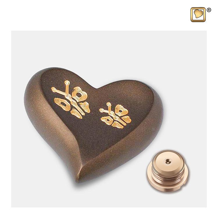 LoveUrns Design Hart Urn Gouden Vlinders (0.05 liter)