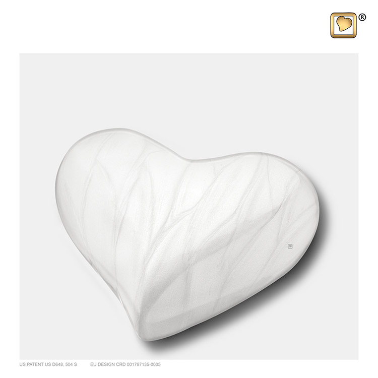 LoveUrns Design Hart Urn Wit Gemarmerd (0.05 liter)