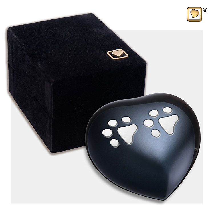 Mini Hart Dierenurn Midnight Black Pootafdrukken (0.085 liter)