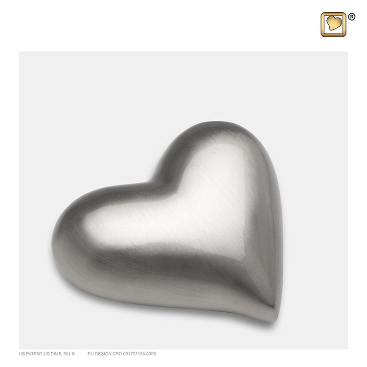 LoveUrns Design Hart Urn Matzilver (0.05 liter)