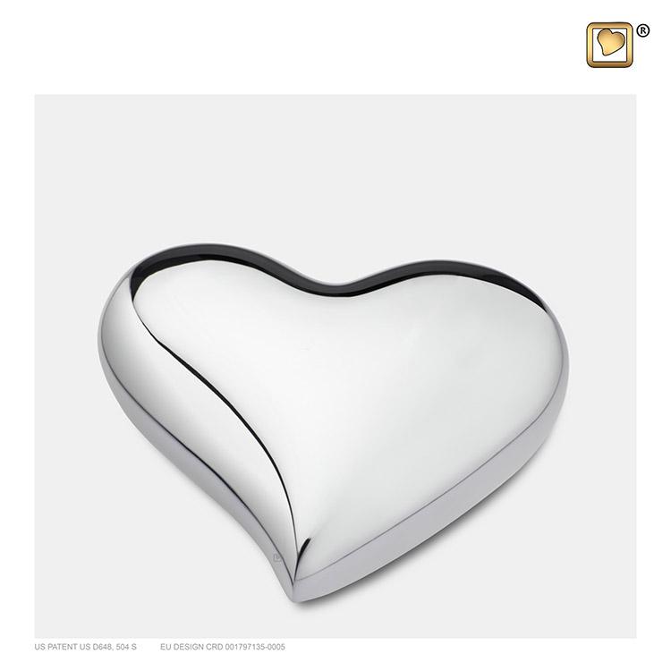 LoveUrns Design Hart Urn Shiny Zilver (0.05 liter)