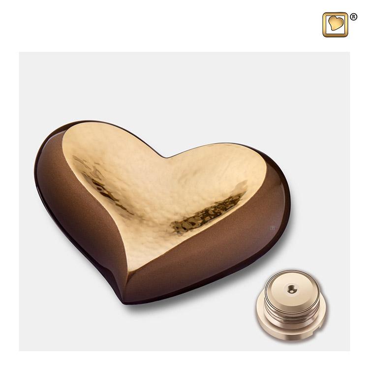 LoveUrns Design Hart Urn Golden Brown - Gehamerd Goud (0.05 liter)