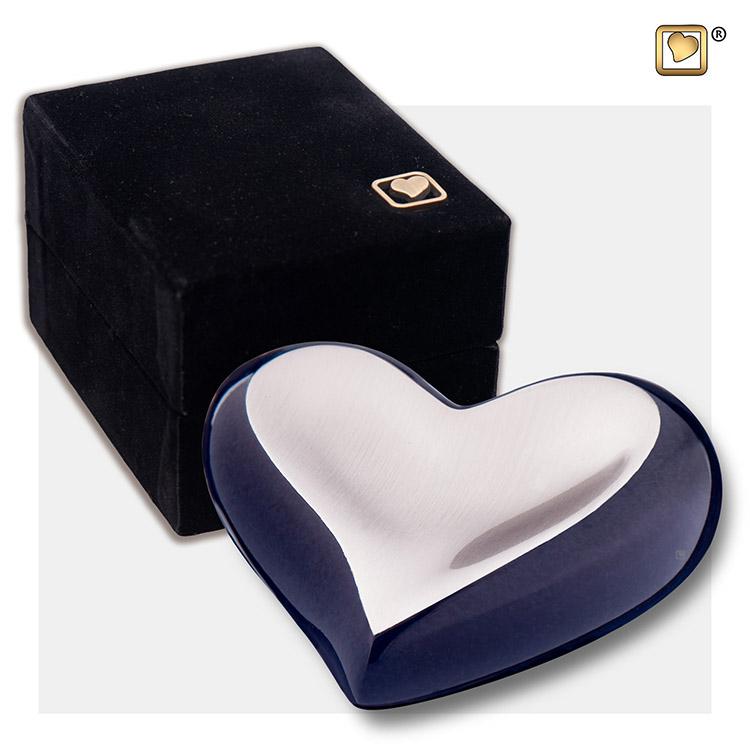 LoveUrns Design Hart Urn Midnight Black - Matzilver (0.05 liter)