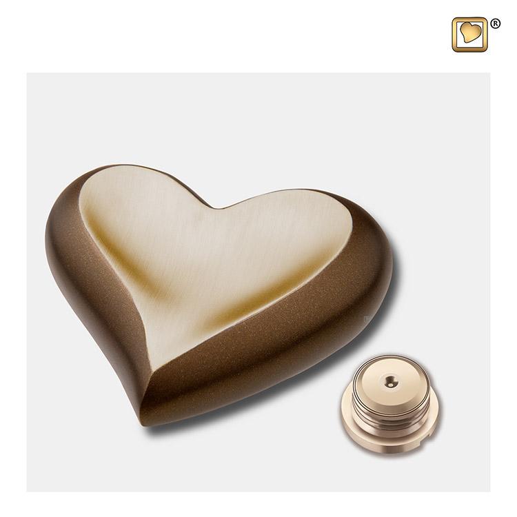 LoveUrns Dieren Hart Urn Kastanjebruin - Matgoud (0.05 liter)