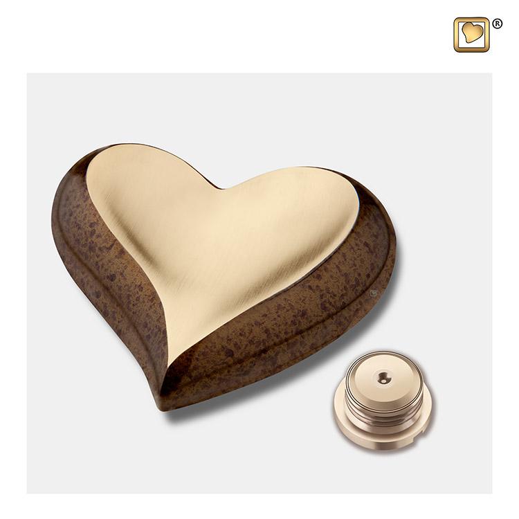 LoveUrns Design Hart Urn Gespikkeld Kastanje - Matgoud (0.05 liter)