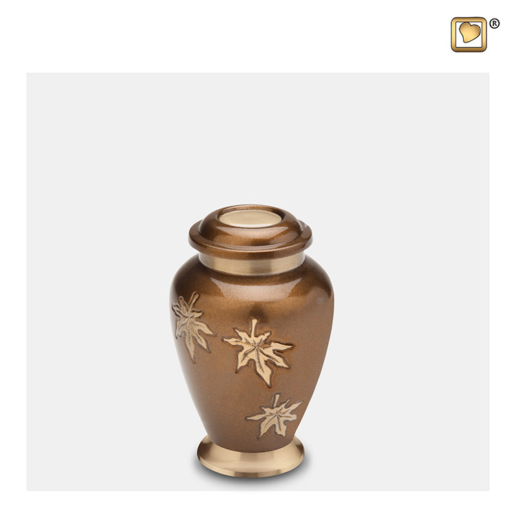 LoveUrns Mini Urn Bronze, Vallende Bladeren (0.055 liter)