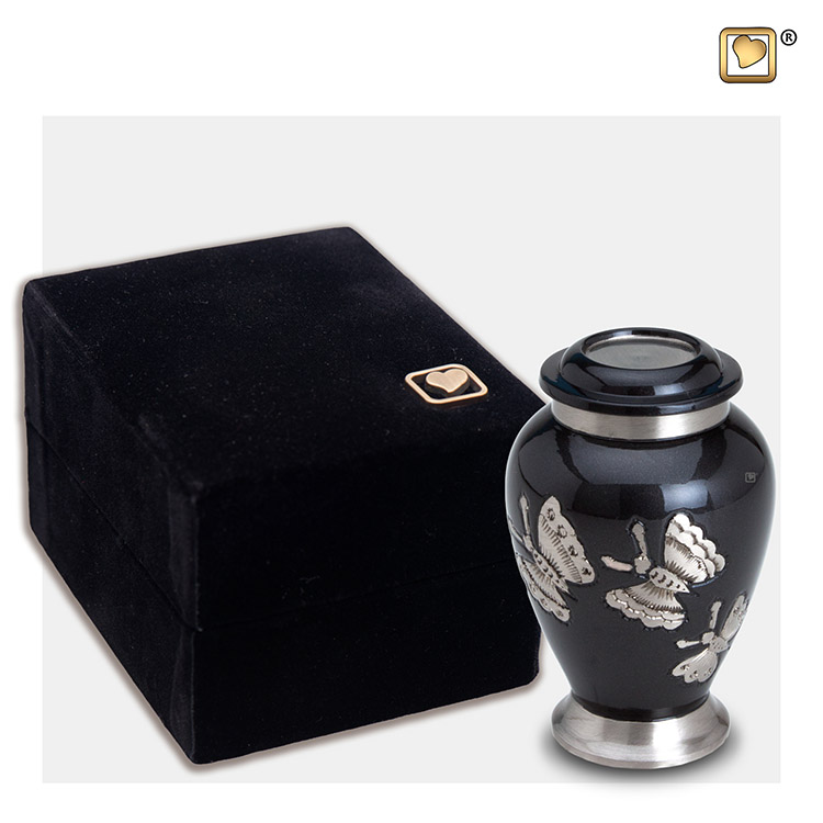 LoveUrns Mini Urn Midnight - Zilveren Vlinders (0.055 liter)