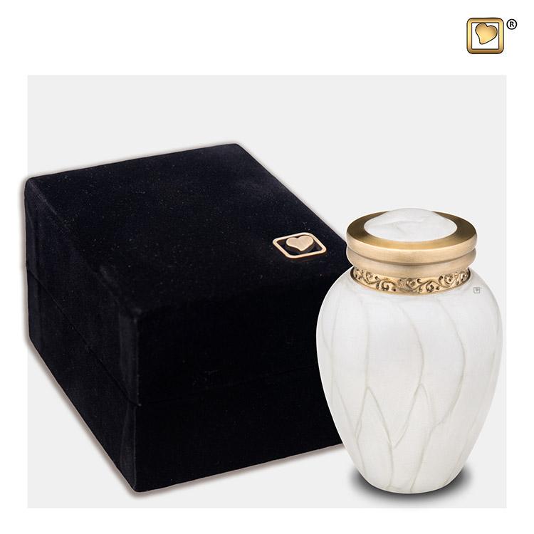 Mini Blessing Urn Witmarmer, Gouden Sierand (0.085 liter)