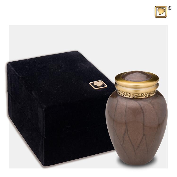 Mini Blessing Urn Bruinmarmer, Gouden sierrand (0.085 liter)