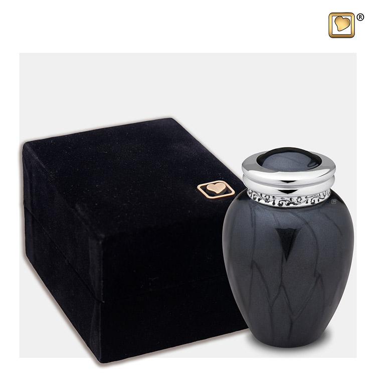 Mini Blessing Urn Zwartmarmer, Zilver Sierrand (0.085 liter)
