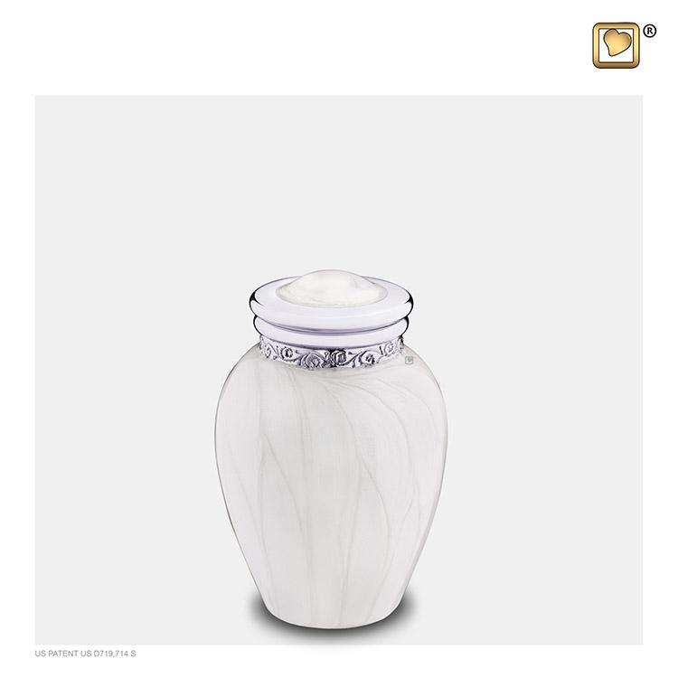 Mini Blessing Urn Witmarmer, Zilver Sierand (0.085 liter)