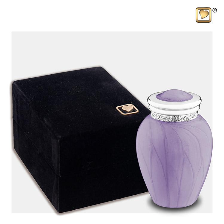 Mini Blessing Urn Lavendel Gemarmerd, zilver (0.085 liter)