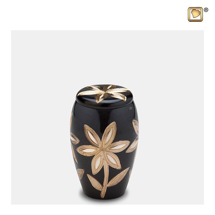 Messing Mini Urn Midnight Zwart - Messing Bloemen (0.11 liter)