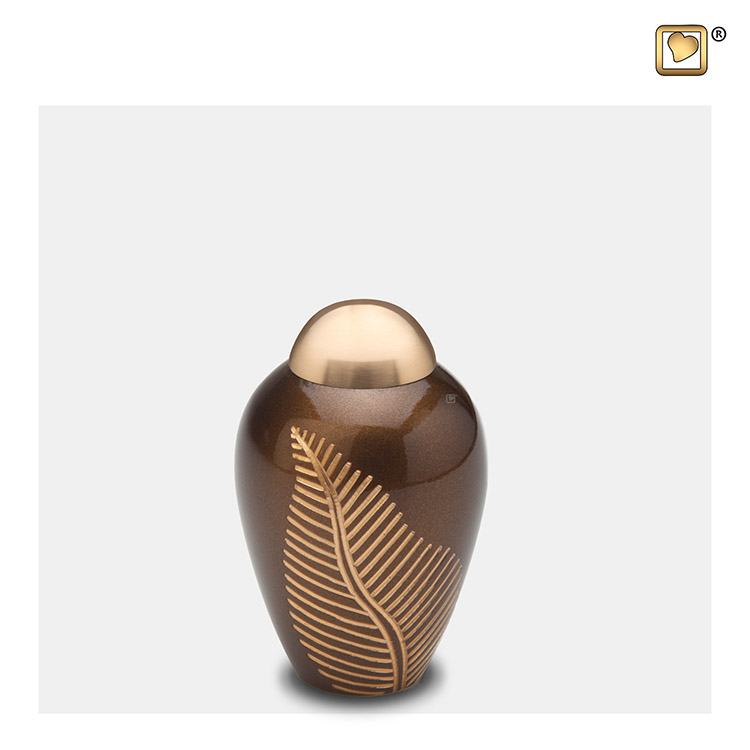Messing Mini Urn Golden Brown Feather (0.05 liter)