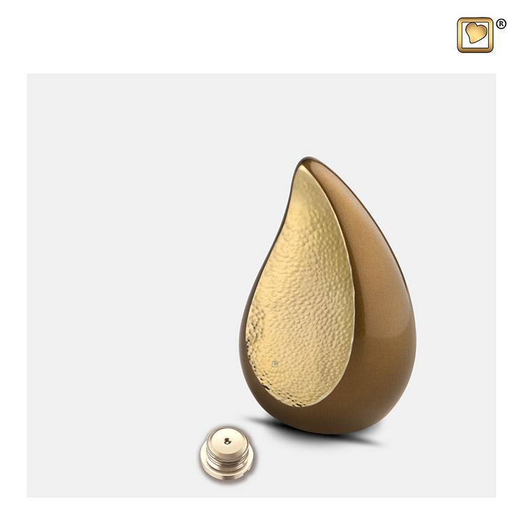 Mini Teardrop Urn Golden Brown - Gehamerd Goud (0.04 liter)