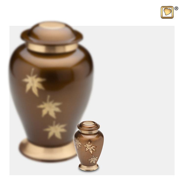 Mini Dierenurn Bronze, Vallende Bladeren (0.055 liter)